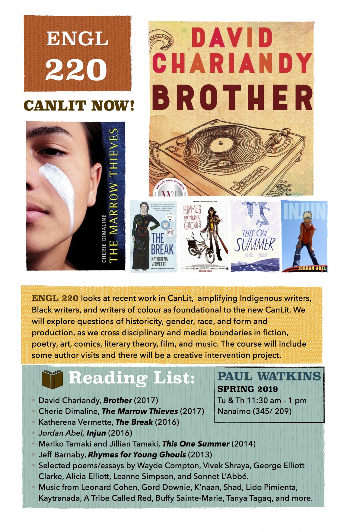 ENGL 220 looks at recent work in CanLit,  amplifying Indigenous writers, Black writers, and writers of colour as foundational to the new CanLit. We will explore questions of historicity, gender, race, and form and production, as we cross disciplinary and