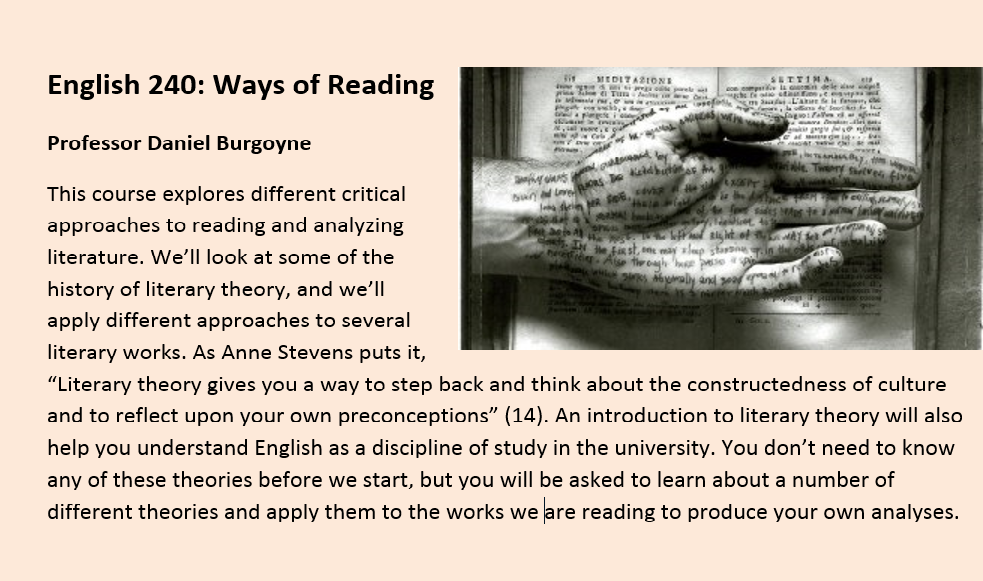 English 240: Ways of Reading Professor Daniel Burgoyne This course explores different critical approaches to reading and analyzing literature. We'll look at some of the history of literary theory, and we'll apply different approaches to several literary w