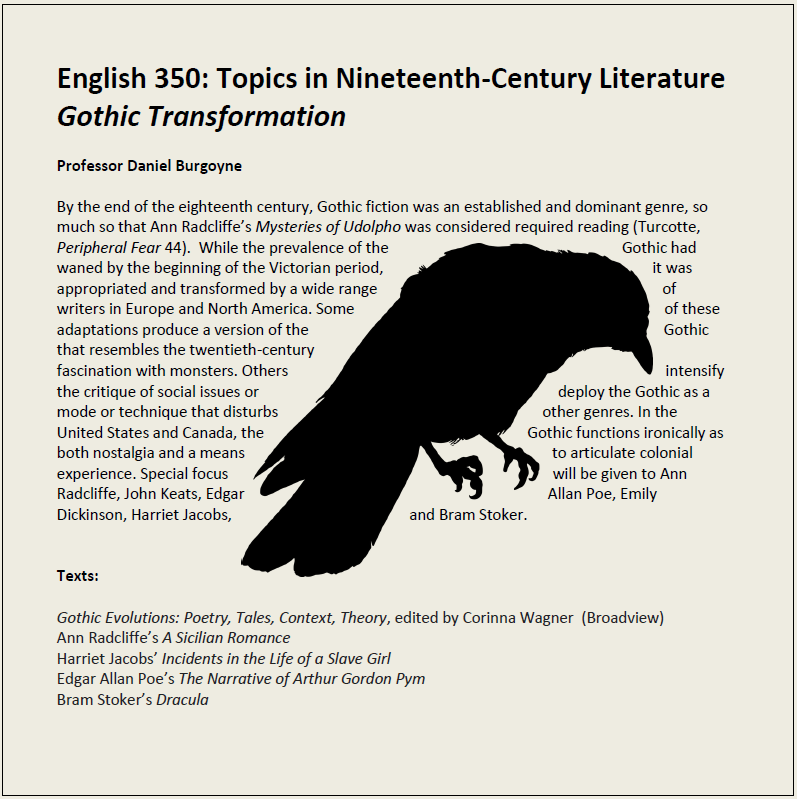 English 350: Topics in Nineteenth-Century Literature Gothic Transformation  Professor Daniel Burgoyne  By the end of the eighteenth century, Gothic fiction was an established and dominant genre, so much so that Ann Radcliffe's Mysteries of Udolpho was con