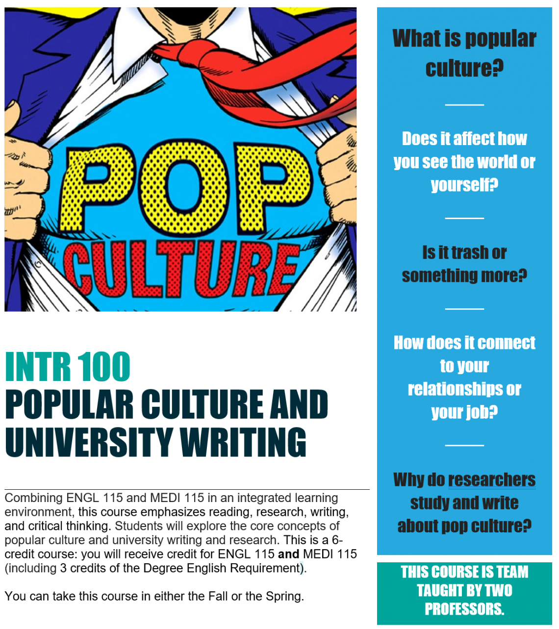 A combination of ENGL 115 and MEDI 115 in an integrated learning environment. Students will explore the core concepts of popular culture and university writing and research.