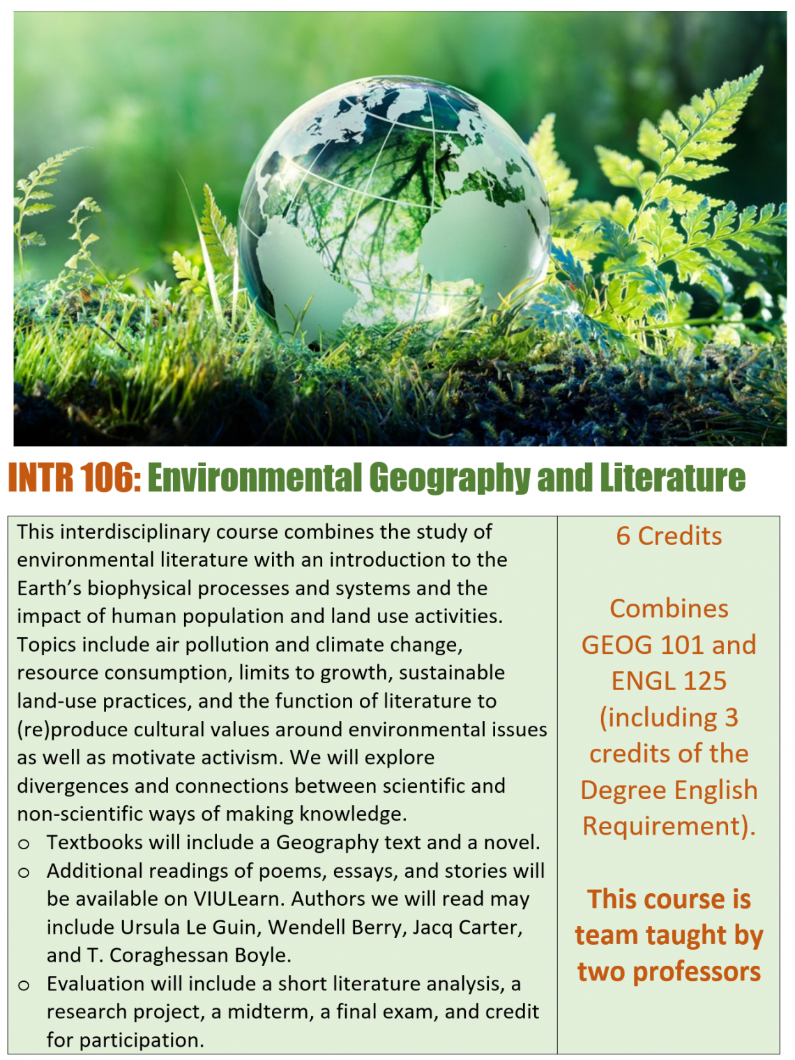 INTR 106 Poster: This interdisciplinary course combines the study of environmental literature with an introduction to the Earth's biophysical processes and systems and the impact of human population and land use activities.